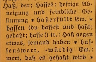 Hass in einem alten Lexikon