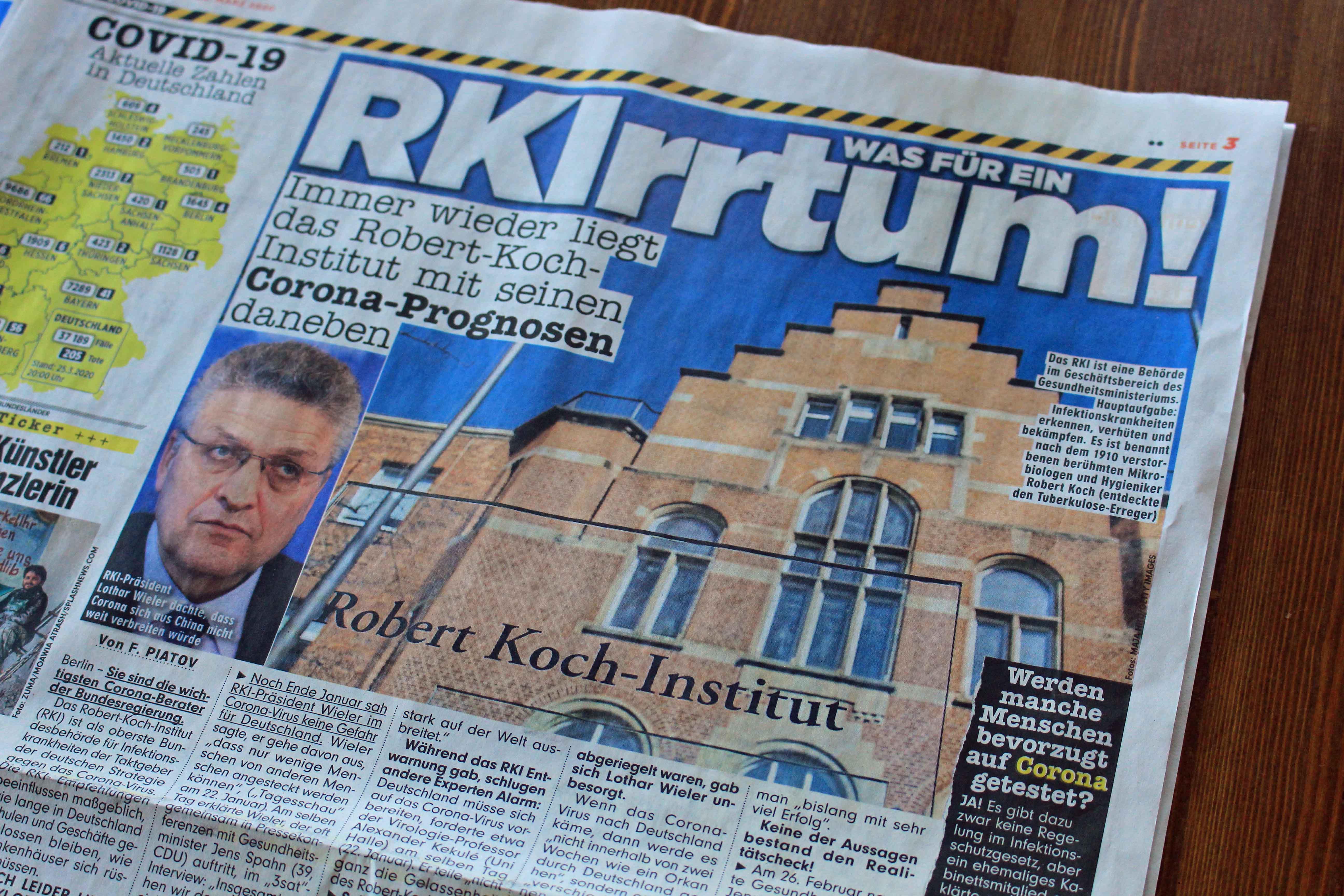 """Überschrift in """"Bild"""" am 26. März 2020 über Irrtümer des RKI"""