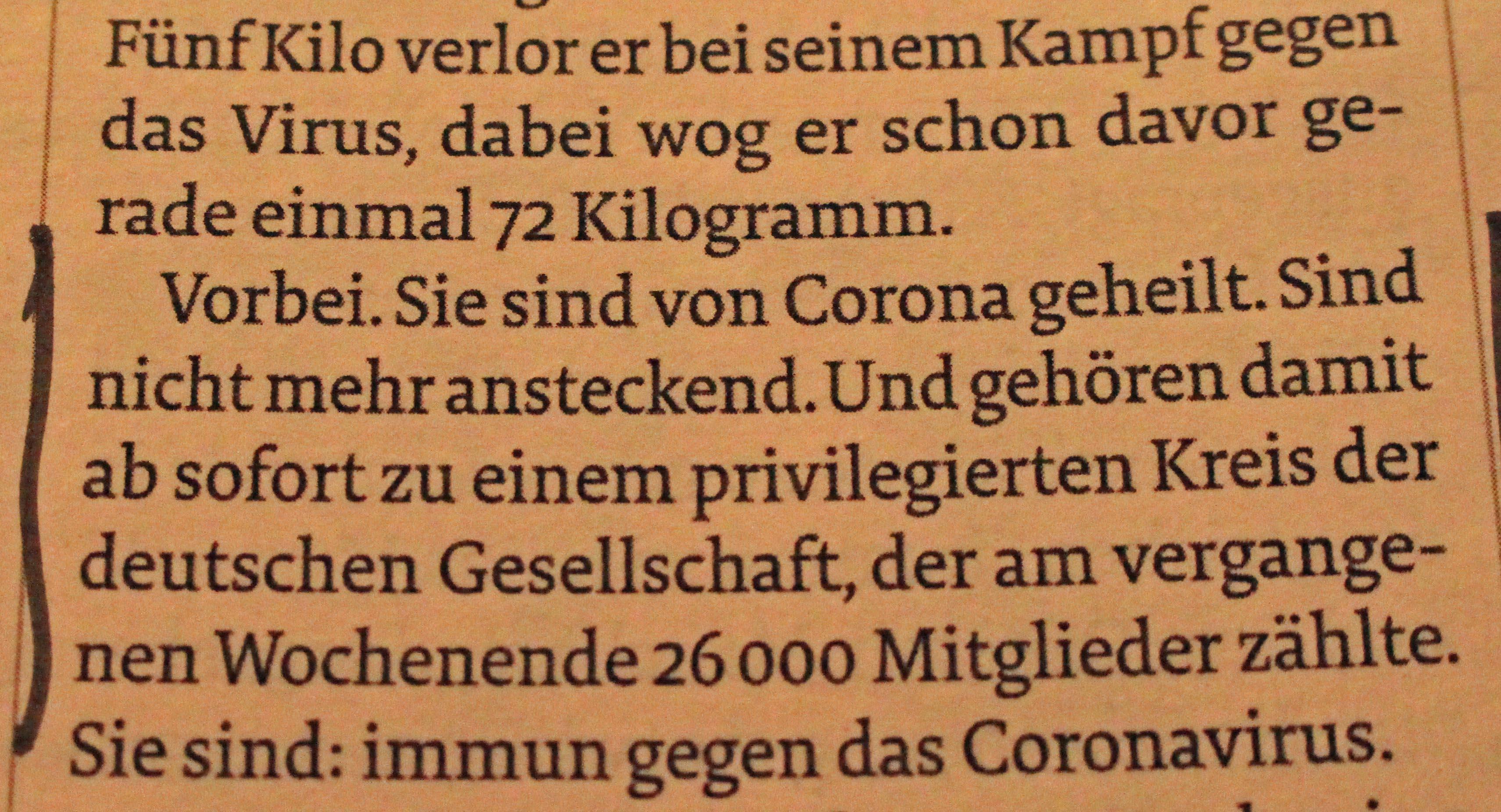 """Ausschnitt aus dem """"Stern"""", der über Corona-Genesene behauptet, sie seien immun."""