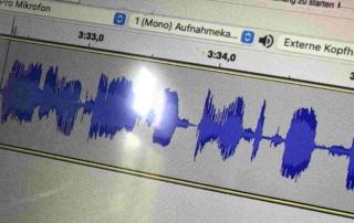Blick auf die Oberfläche eines Tonstudioprogramms