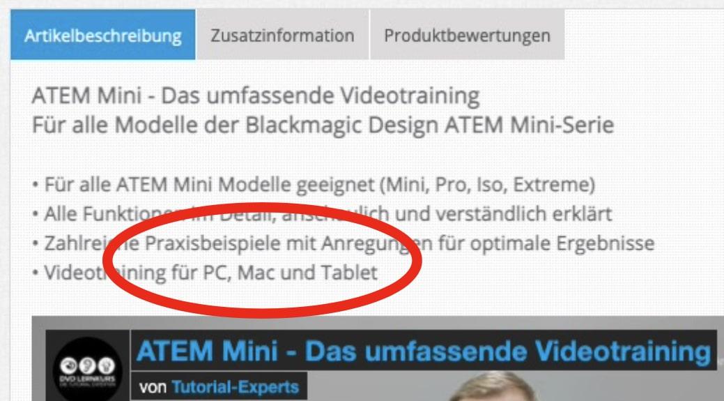 """Screenshot: Die Verkaufsseite sagt """"für Mac""""."""