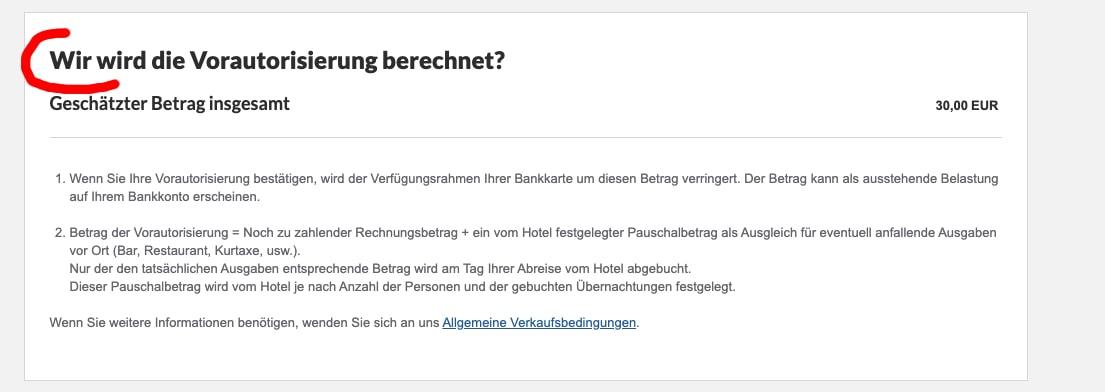 """Checkout-Prozess auf Hotel-Website mit Tippfehler: """"Wir wird berechnet"""" statt """"Wie wird berechnet"""""""