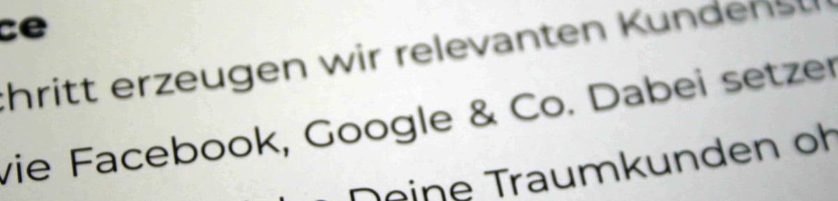 """Text mit kaufmännischem Und bei """"Google & Co."""""""